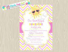 Ray of Sunshine Baby Shower Invitation Little Miss by jcbabycakes, $11.00