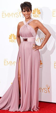 Halle Berry's dusty rose Elie Saab Emmys gown (and her on-display biceps) are totally out of this world.