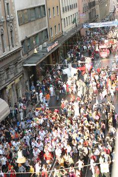 Manifestazione di carnevale vista dalle finestre dell'albergo Panorama Bologna IT: