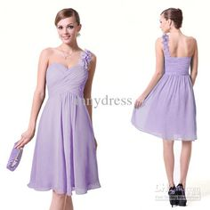 Wholesale Short A-line Light Purple One-shoulder Floral Strap Pleated Knee-length Chiffon Bridesmaid Dresses, Free shipping, $56.0-84.0/Piece | DHgate