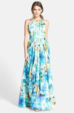 Embellished Floral Print Chiffon Gown (Regular & Petite)