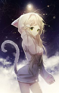 Anime...Girl...Cat... Cat ears... Animal... Animal girl...Moe...Kawaii... Cat tail... Sky...Night...Stars...Space