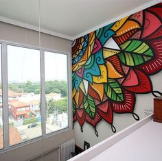home interior design ideas Wall Art Designs, Paint Designs, Wall Design, Graffiti Wall Art, Mural Wall Art, Mandala Painting, Mandala Art, Diy Wall, Wall Decor