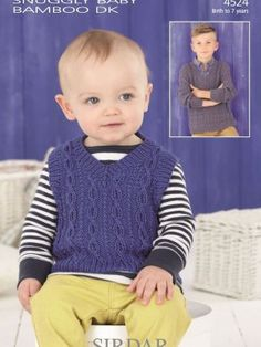 Sirdar Snuggly Baby Bamboo DK 4524 Cabled Tank Top and Sweater. See our great prices and fast service.