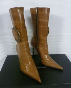 Gianmarco Lorenzi Camel Brown Eel Leather Calf High Boots 37 UK 4 BNIB Brown High Heel Boots, High Heels, Stilettos, Gianmarco Lorenzi, Shoes 2014, Charlotte Olympia, Ankle Straps, Manolo Blahnik, Giorgio Armani