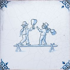 Childrens Games Blue Glazed Ceramic Tiles 5x5
