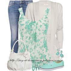 """Butterfly Print Tank & Vans"" by stay-at-home-mom on Polyvore"