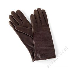 Ladies Leather Gloves in dark brown with faux alligator print