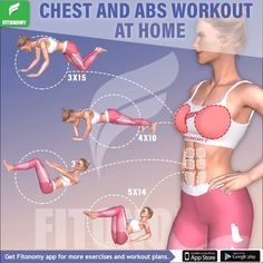 Chest and abs workout all in one with only 4 workout that will target your upper body muscles. Upper body exercises are a great way to carve your back, shoulders, chest and abs, and they can also prevent you from getting flabby arms. Gym Tips, Gym Workout Tips, Pilates Workout, Workout Challenge, Workout Videos, Fun Workouts, Pop Pilates, Pilates Yoga, Body Workouts