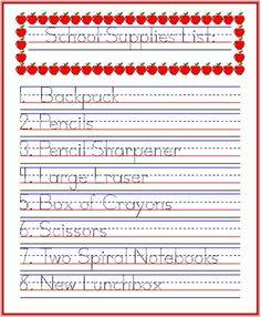 Handwriting Practice Idea- School Supplies List