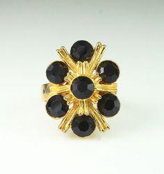 Vintage Modernist Black Rhinestone Gold Tone by zephyrvintage,