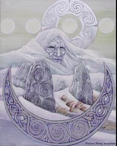 The Cailleach: The Cailleach is the crone face of the triple goddess. While Brighid brings in the first light of spring at Imbolc as the energy of late summer begins to wane she faces west to the waters of the Atlantic. She returns to the great whirlpool of Corryvrecken and takes her mantle from her shoulders. As she washes out the rest of the season she rings her plaid dry and as she throws it out over the landscape of Scotland she invokes the first frost over the Scottish mountains...