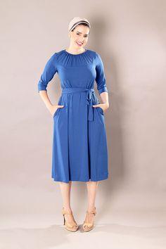 Blue midi dress,Modest dress,Formal dress,Bridesmaids dress,Tea length dress,Mid length dress,Party dress,Graduation dress,mormon dress by TAMARLANDAU on Etsy