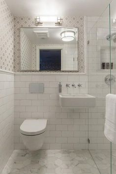 David Duncan Livingston Photography - Small gray and white bathroom features a w. David Duncan Livingston Photography - Small gray and white bathroom features a w. Small Space Bathroom, Bathroom Design Small, Bathroom Layout, Bathroom Interior Design, Small Bathrooms, Bathroom Ideas, Bathroom Designs, Garage Bathroom, Bathroom Pictures