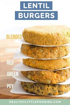 If you are looking for a vegetarian burger then these lentil burgers are a great protein source. Follow the cooking tips to customise to suit taste and texture. Can use a variety of lentils including canned. Freeze well. Vegetarian Finger Food, Vegetarian Meals For Kids, Kids Meals, Vegetarian Recipes, Easy Meals, Lentil Recipes, Healthy Recipes, Cooking Bread, Oven Cooking