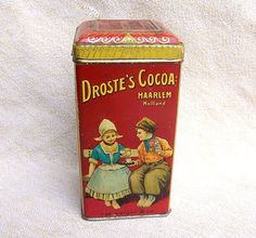 Antique tin Droste's Cocao 8 oz. Haarlem Holland Dutch lithographed advertising