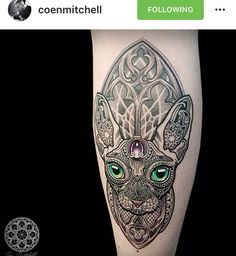 Sphinx Cat Mosaic Tattoo by Coen Mitchell