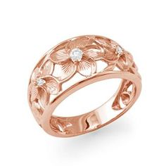 Maui Divers Jewelry: Plumeria Scroll Ring with Diamonds in 14K Rose Gold