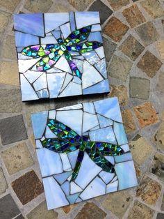 Mosaic Coasters/Mosaic Dragonfly Coasters/Dragonflies/Pair of Mosaic Tile Art, Mosaic Crafts, Mosaic Projects, Stained Glass Projects, Mosaic Stepping Stones, Stone Mosaic, Mosaic Glass, Glass Art, Pebble Mosaic