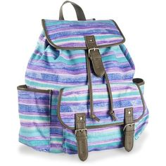Beachy Stripes Backpack ($36) ❤ liked on Polyvore featuring bags, backpacks, accessories, purses, stripe backpack, backpack pouch, pouch bag, sports backpacks and beach backpack