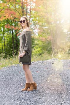 Off the shoulder dress / fall style / booties