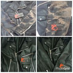 Pintura e tratamento em couro.  Após  os ajustes em toda a jaqueta fizemos também  a parte de tratamento e pintura especializada em couro