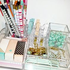 my desk organization! ..acrylic organizer, target dollar spot, homesense, marshalls, winners!