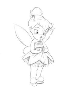 How To Draw Disney Characters   how to draw tinkerbell easy step 1 ...