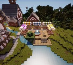 Minecraft- cute shops with different colored covers