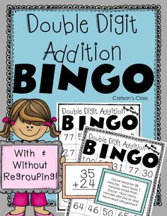 Double Digit Addition BINGO!!  With Regrouping and Without Regrouping.  Addition Sentence and Word Problem Calling Cards!!  My kids LOVE to play BINGO!