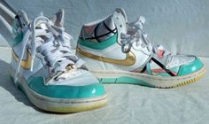 Vintage-Nike-Court-Force-90s-Womans-High-Tops-Gold-Swoosh-Pastel-Satin-Upper