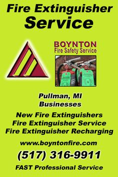 Fire Extinguisher Service Pullman, MI (517) 316-9911Local Michigan Businesses Discover the Complete Fire Protection Source.  We're Boynton Fire Safety Service.. Call us today!