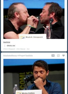 Idk what this is.but I think I like it. Supernatural Pictures, Supernatural Quotes, Supernatural Actors, Supernatural Fanfiction, Crowley Spn, Jim Beaver, Bobby Singer, Super Natural, Misha Collins