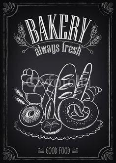 Vintage Bakery Poster with pastry. Freehand drawing