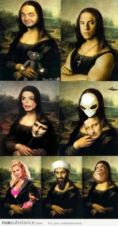 Different versions of Mona Lisa Crazy Funny Memes, Really Funny Memes, Stupid Funny Memes, Funny Relatable Memes, Funny Cute, Haha Funny, Crazy Humor, Images Gif, Funny Images