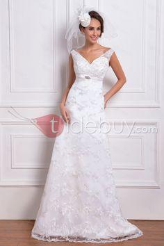コラムVネックチャペルトレインレースウエディングドレス