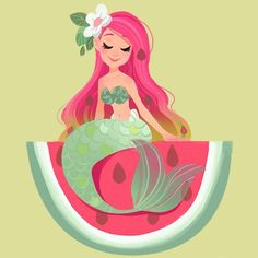 """1,674 Likes, 15 Comments - Julia Blattman (@jbdraws) on Instagram: """"Another watermelon mermaid Did a series of fruit mermaids for a cosmetic company a few weeks…"""""""