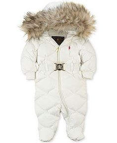 Polo Ralph Lauren Baby Down Snowsuit Metal Belt Coat Jacket in White 9M 18M