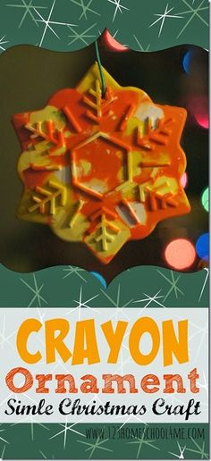 Crayon Ornament - Simple Christmas Craft for toddler, Preschool, and elementary age kids. This is a great Christmas activity, Christmas gift kids can make, and kids activities. Diy Christmas Gifts For Kids, Preschool Christmas, Toddler Christmas, Crafts For Kids To Make, Christmas Activities, Diy Christmas Ornaments, Simple Christmas, Kids Crafts, Christmas Ideas