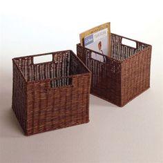 Set of 2 Espresso Small Storage Baskets