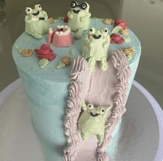 Pretty Birthday Cakes, Pretty Cakes, Frog Cakes, Pastel Cakes, Cute Baking, Cute Desserts, Just Cakes, Cute Food, Cake Designs