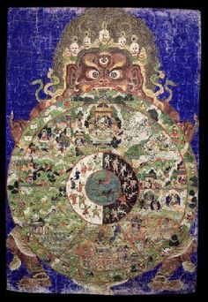 Wheel of life (item no. 78)  Mongolia  1800 - 1899  Buddhist Lineage  Ground Mineral Pigment, Fine Gold Line on Cotton