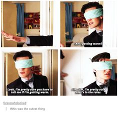 So, Doctor, you don't trust your companions to stay put, but you blindly allow children to blindfold you and let you wander around the house? LOL, I love this scene.