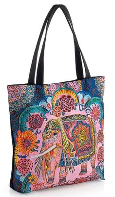off over - Discount of when you buy multiple items Mandalay, Bags Uk, Paisley, Beach Tote Bags, Shopper Tote, Beach Holiday, Holiday Travel, Black Handbags, Elephant Design