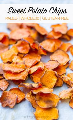 These baked sweet potato chips are perfectly crisp delicious and healthy. They are perfect as a snack finger food lunchbox addition in nachos or as a simple side dish. Healthy Baking, Healthy Snacks, Healthy Recipes, Healthy Chips, Vegan Chips, Diet Snacks, Whole 30 Recipes, Real Food Recipes, Recetas Whole30