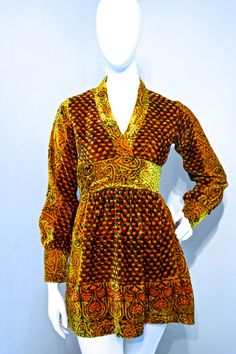 ☆ DESCRIPTION ☆  Absolutely stunning baby doll style mini dress by India Imports of Rhode Island. Genuine made in india garment. Very