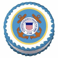 8 Round  Coast Guard Emblem Birthday  Edible Image CakeCupcake Topper * Want to know more, click on the image.(This is an Amazon affiliate link and I receive a commission for the sales)
