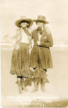 Queens of the Rodeo - Miss Wyoming and Miss Colorado - 1920 postcard