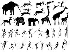 Set Of Pictures Of People And Animals In The Prehistoric Period. Royalty Free Cliparts, Vectors, And Stock Illustration. Pic Set Of Pictures Of People And Animals In The Prehistoric Period. Royalty Free Cliparts, Vectors, And Stock Illustration. Prehistoric Period, Prehistoric Animals, Cave Drawings, Art Premier, Africa Art, Alien Art, Doodles Zentangles, Pictures Of People, Aboriginal Art