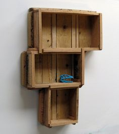 This accent cabinet is made from reclaimed pallet wood -which was en route to the landfill, but we stepped in.